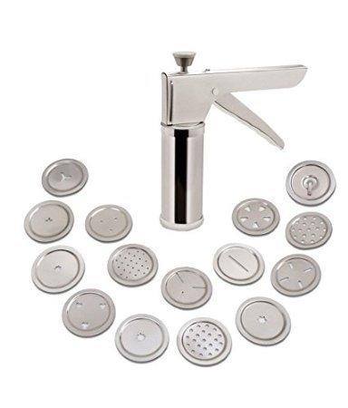 iTrends Stainless Steel Cookie / Muruku Maker Press Kit with 15 Unique Steel Disks - Murukku Press
