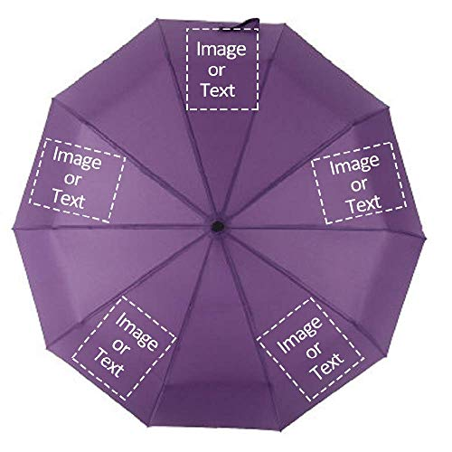10 Ribs Personalized Customized Portable Folding Sun/Rain Umbrella DIY with Your Photo Text Image or Logo(Purple, 5 sides)