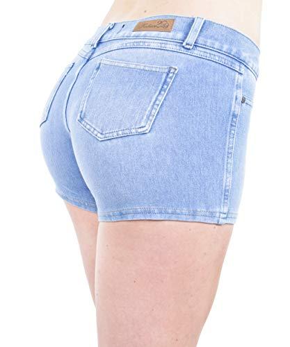 - Basic Booty Shorts Premium Stretch Indigo Denim Gentle Butt Lift Stitching in Celest Size XL