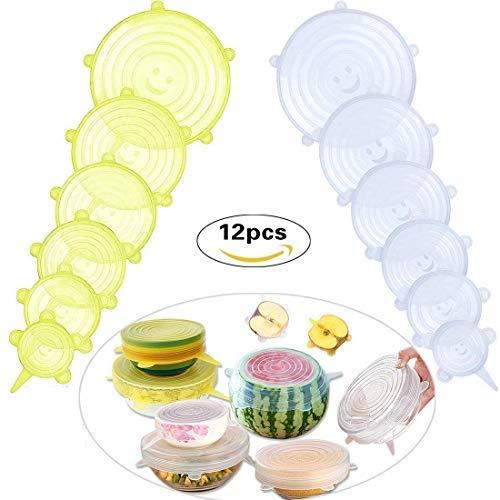 Aptas para Lavavajillas//Microondas//Horno//Nevera 12 Paquetes de Varios Tama/ños de Fundas para Tazones de Silicona Protectoras para Alimentos MOKIU Tapas de Silicona El/ástica Sin BPA