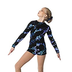 RoyalBlue Sequin Dance Performance Biketard for Girls