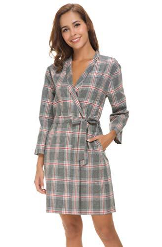 - Costyleen Women Short Spa Robes Plaid Homewear Pockets Kimono Lounge Bathrobe Grey S