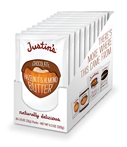 Chocolate Hazelnut & Almond Butter Squeeze Pack by Justin's, Organic Cocoa, Gluten-free, Responsibly Sourced, Packaging May Vary, (1.15oz each) (Pack of 10)