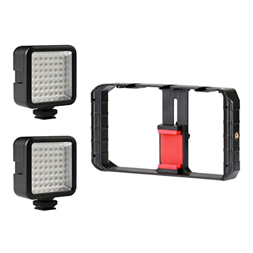Homyl U-Rig Pro Smartphone Video Rig 3 Shoe Mounts Filmmaking Case Handheld Phone Video Stabilizer Grip Tripod Mount Stand for iPhone X 8 8 Plus Samsung S8 and More Include 2 Fill Light