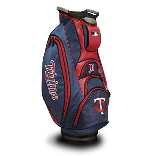 Team Golf MLB Minnesota Twins Victory Golf Cart Bag, 10-way Top with Integrated Dual Handle & External Putter Well, Cooler Pocket, Padded Strap, Umbrella Holder & Removable Rain Hood