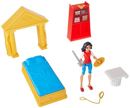 Mattel DC Super Hero Girls Wonder Woman Action Figure Bedroom Set, - Headboard Fashion Bed Bedroom
