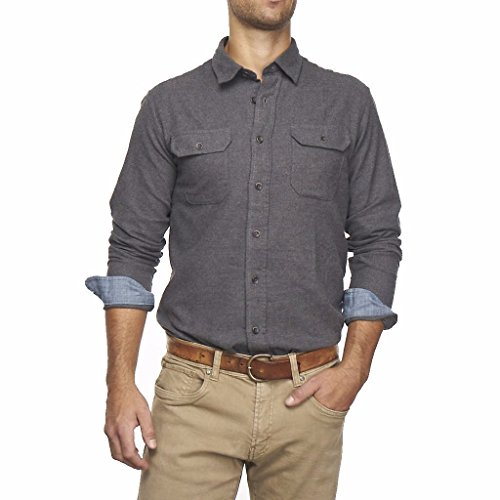 Heather Brushed Double Pocket Flannel Shirt, Grey, M ()