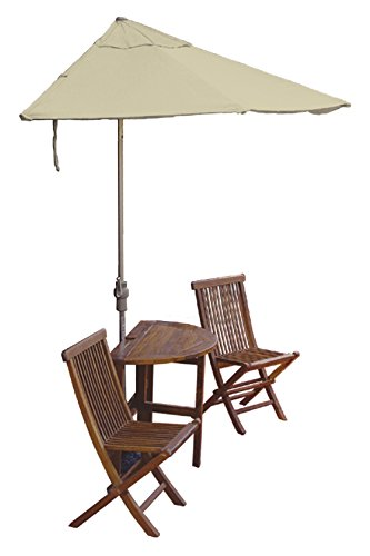 Blue Star Group Terrace Mates Caleo Standard Table Set w/ 9'-Wide OFF-THE-WALL BRELLA - Antique Beige Sunbrella Canopy