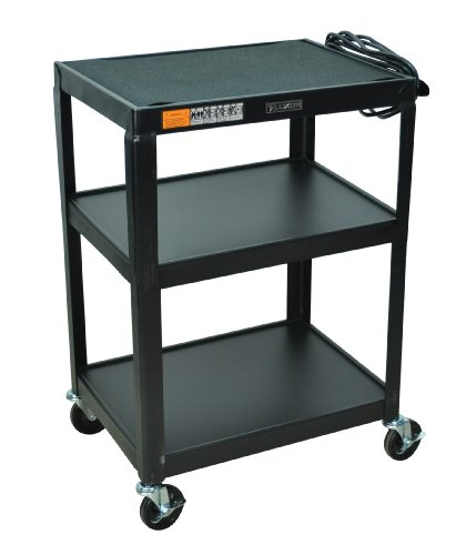 DMD Audio Visual (AV) Utility Cart / Mobile Presentation Station with Three Shelves, 34 Inch Height, Electrical Assembly, High Gloss Metal Cart in Black