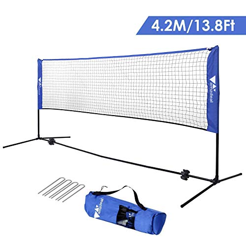 - amzdeal Badminton Net 14FT Portable Net for Kids Volleyball, Tennis, Pickleball, Adjustable Height 34