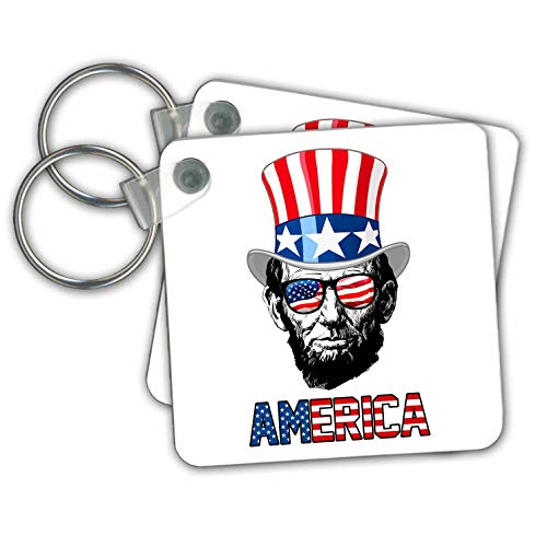 Carsten Reisinger - Illustrations - Abraham Lincoln wearing a USA flag top hat and sunglasses America - Key Chains - set of 2 Key Chains -