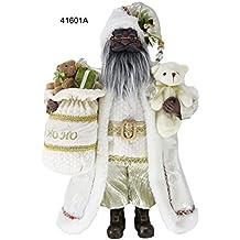 "16"" Inch Standing Ho Ho Ho African American Black Santa Claus Christmas Figurine Figure Decoration 41601A"