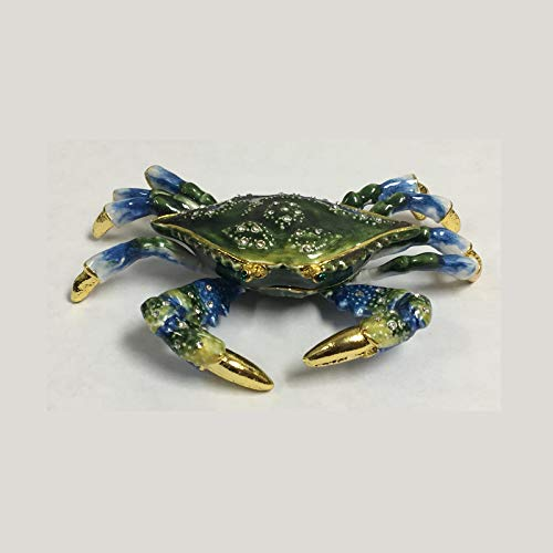 Home and Holiday Shops Blue Crab Bejeweled Enamel Jewelry Trinket Keepsake Box Coastal Sea Life New