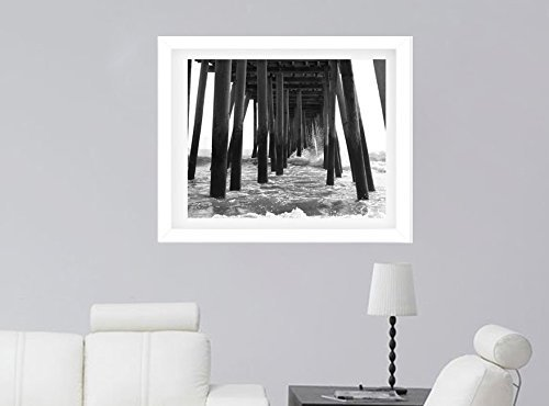 Black and White Beach Wall Decor, Pier Photography Print, Virginia Beach Pier Boardwalk Picture, Under Pier Ocean Wave Splash Photo Gift for Men by Natural Photography Spa (Image #1)