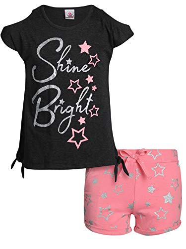 Real Love Girls' 2-Piece French Terry Short Set with Colorful Tops, Grey Shine Bright, Size 4'