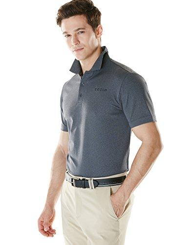 (TSLA Men's Dri Flex Tech Polo Premium Active Fit Solid Top Shirt, Driflex Polo(mtk02) - Heather Grey, Large. )