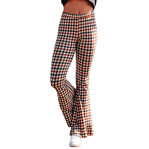 Fashion Women Ladies Plaid Printing Casual Long Wide Leg Trousers Flare Pants Brown