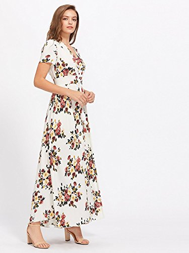 3 Women's up Flowy Multicolor Party Floral Maxi Dress Split white Print Milumia Button FBH7SBwq