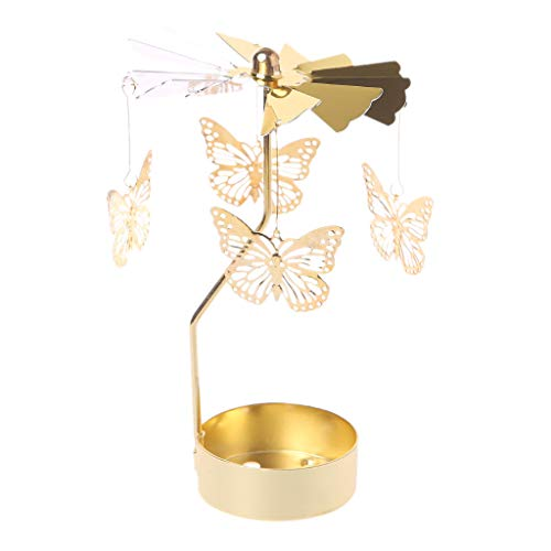 - Oranmay Spinning Rotary Carousel Tea Light Candle Holder Stand Light Gift Wedding Decor (Butterfly)