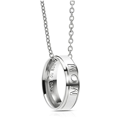 YJYdada Ring, Stainless Steel Engraved I Love You MOM DAD Ring Pendant Necklace Mother's Day (A)