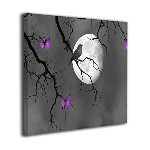 Kingsleyton Black White Purple Butterflies Bird Contemporary Wall Art Painting The Picture Print On Canvas Pictures for Home Decor Decoration Gift Stretched by Wooden Frame Ready to Hang 12