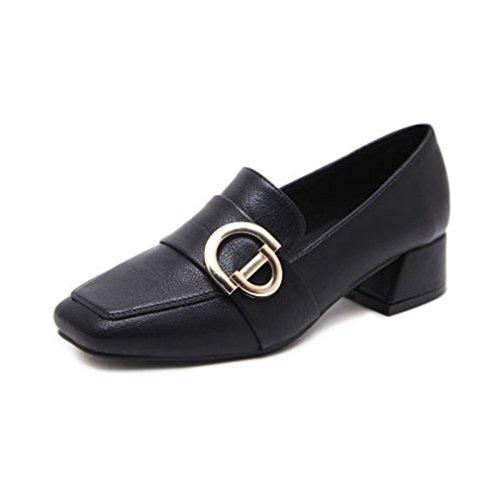 Giy Damesschoenen Klassieke Vierkante Teen Penny Loafers Pompen Zakelijke Slip-on Gesp Blok Hiel Jurk Loafer Schoenen Zwart
