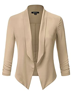 DRESSIS Womens 3/4 Ruched Sleeve Thin Open Front Blazer
