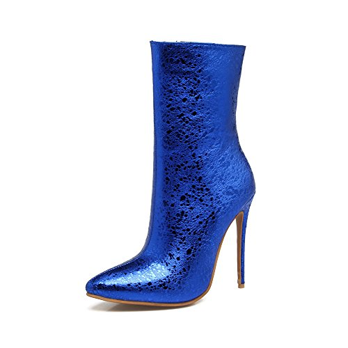 JIEEME Ladies Fashion Zip Pointed Toe Stiletto High Heels Blue Black Ankle Women Boots Blue Ar9m4CCt