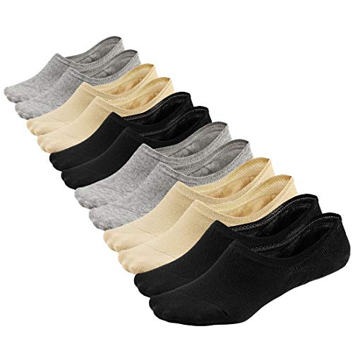Women No Show Liner Socks Low Cut Cotton Non Slip Invisible Hidden Socks 6 Pairs
