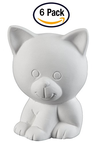 Creative Hobbies Tiny Tot Kitty Cat, Case of 6, 3.75 Inch Tall, Unfinished Ceramic Bisque, With How To Paint Your Own Pottery Booklet