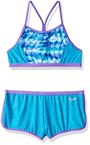 Speedo Girls' Rhythmic tie dye Boyshort Two Piece Swimsuit, Cyan, Size ()