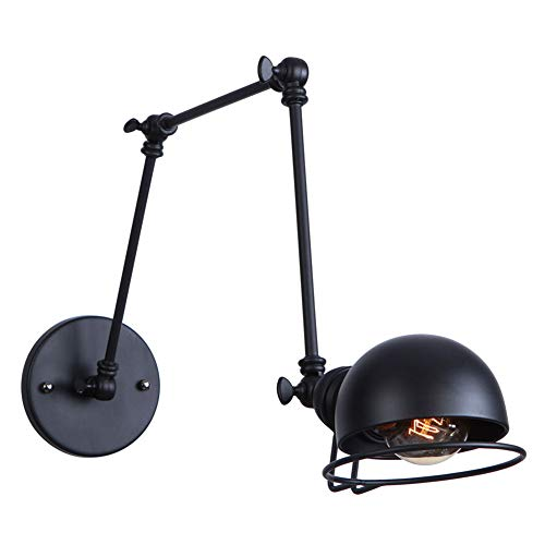(ATC Black Wall Light Fixture with Swing Arm Sconce Industrial Retro Loft Antique Wall Lamp Vintage Decorative Wall Lighting Luminaire (Bulbs Not Included))