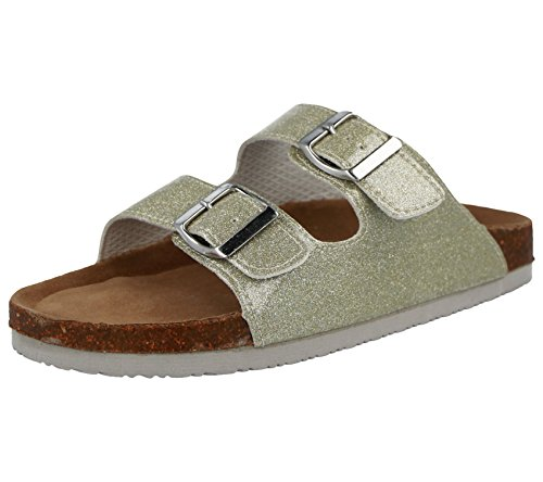 Bio Comfort Ladies Metallic Double Buckle Slip on Flat Mule Sliders Sandals Size 3-9 Platinum G8E6nl7FZN