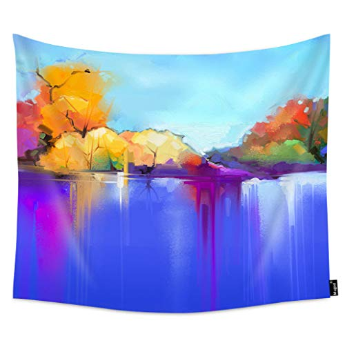 Mugod Tree and Lake Wall Tapestry Semi Abstract Blue and Purple Sunlight Landscape Nature Soft Polyester Hanging Tapestry Room Decor 60x51 Inch for Men/Women/Girl/Boy Bedroom ()