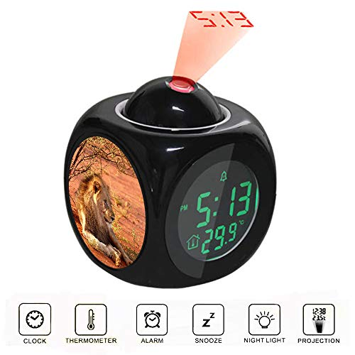 Projection Alarm Clock LCD Digital LED Display Talking with Voice Thermometer Function Desktop Lion Leaning Near Tree During Daytime