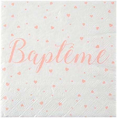 20 Serviettes en Papier bapt/ême Fille Corail Chal