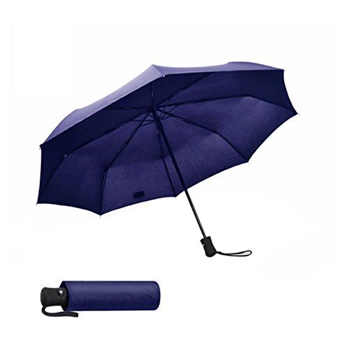 Compact Windproof Travel Umbrella Auto Open Close Lightweight Folding Umbrella/One Hand Operation Umbrella for Travel Golf and Outdoor Use(Dark Blue)