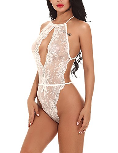 Bridal Teddy - Women Hot Lace Babydoll Lingerie Sexy Teddy Nightwear One Piece Bodysuit Hlater 1 white Bodysuit Nightdress Small