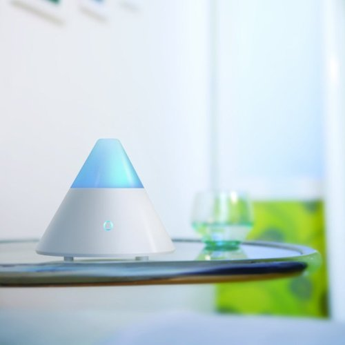 ZAQ Noor Essential Oil Diffuser LiteMist Ultrasonic Aromatherapy With Ionizer and Color-Changing Light - 80 ML Capacity, White by ZAQ