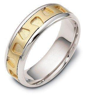 Dora Ring Titanium (7mm Titanium & 18 Karat Yellow Gold Contemporary Wedding Band - 12.25)
