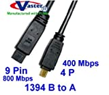 Vaster SKU -20072-10, Fiwire Cable, 1394b 800 to 400 Mbps Firewire Bilinggual Cable (9 Pin to 4 Pin) 10 Ft