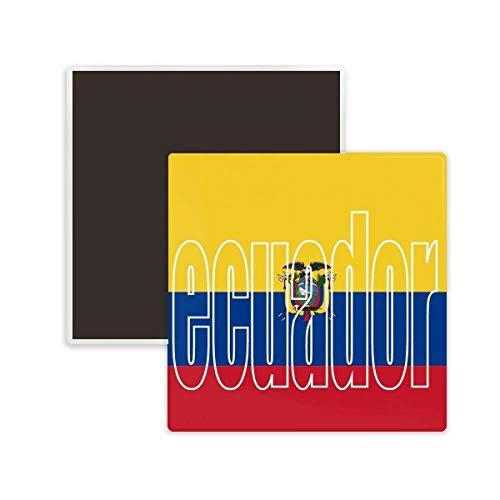 DIYthinker Ecuador Country Flag Name Square Ceramics Fridge Magnet 2pcs
