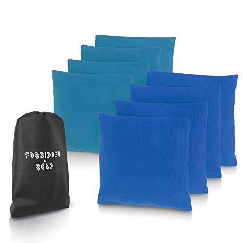 Forbidden Road Cornhole Bag Bean Bags Pack of 8 for Tossing Core Hole Games with Duck Canvas Material Cover and PP Plastic Pellets Inside - Free Carrying Bag Included (Tiffany & Dark Blue, 14OZ)