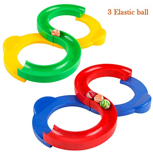 (LuckyZhang 8 Shape Infinite Loop Toys Plastic Track Toy with 3 Elastic Balls, Hand Eye Coordination Exercise Learning and Educational Toy EDC ADHD Anxiety Stress Relief Toys)
