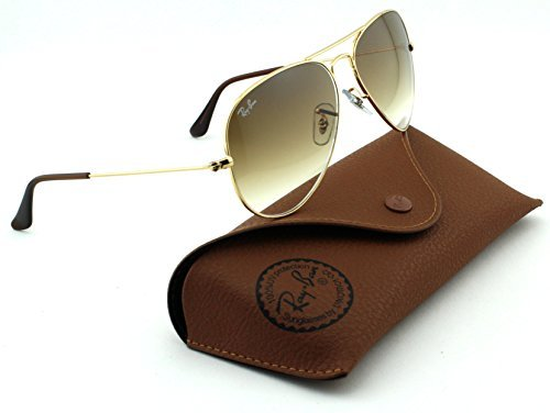 Ray-Ban RB3025 Aviator Large Metal Gradient Unisex Sunglasses (Gold Frame/Crystal Brown Gradient Lens 001/51, - Sunglases Rayban