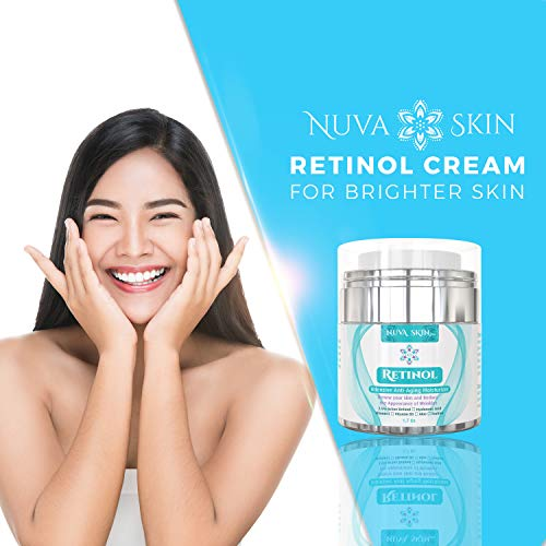 41fZzxSrIhL - Nuva Skin Retinol Cream Moisturizer for Face and Eye Area - With Retinol, Hyaluronic Acid & Vitamin E - Anti Aging Treatment Reduces Wrinkles & Fine Lines - Gentle Day and Night Serum, 1.7 Fl Oz