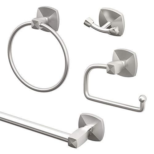 Gatco KA-JEW-4-SN Jewel 4-Piece Bathroom Accessory Kit, Satin Nickel