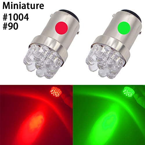 Shangyuan Red Green 90 1004 BA15D Miniature Marine LED Bulb Boat Bow Light Navigation Light Port Light Starboard Light Pole Light Running Lights Transom Mount Lights DC 12V (Pack of 2)