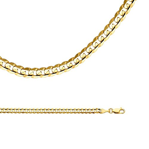 Solid 14k Yellow Gold Chain Cuban Curb Necklace Concave Link Polished Genuine Heavy 4 mm 24 inch