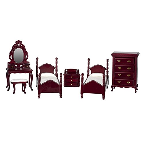 (Dollhouse Miniature Twin Bedroom Set in)